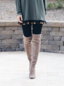 Taupe over-the-knee heel boots