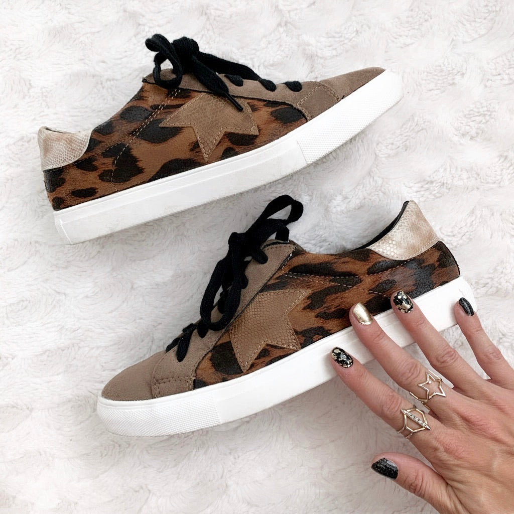Star Sneakers with Leopard Print