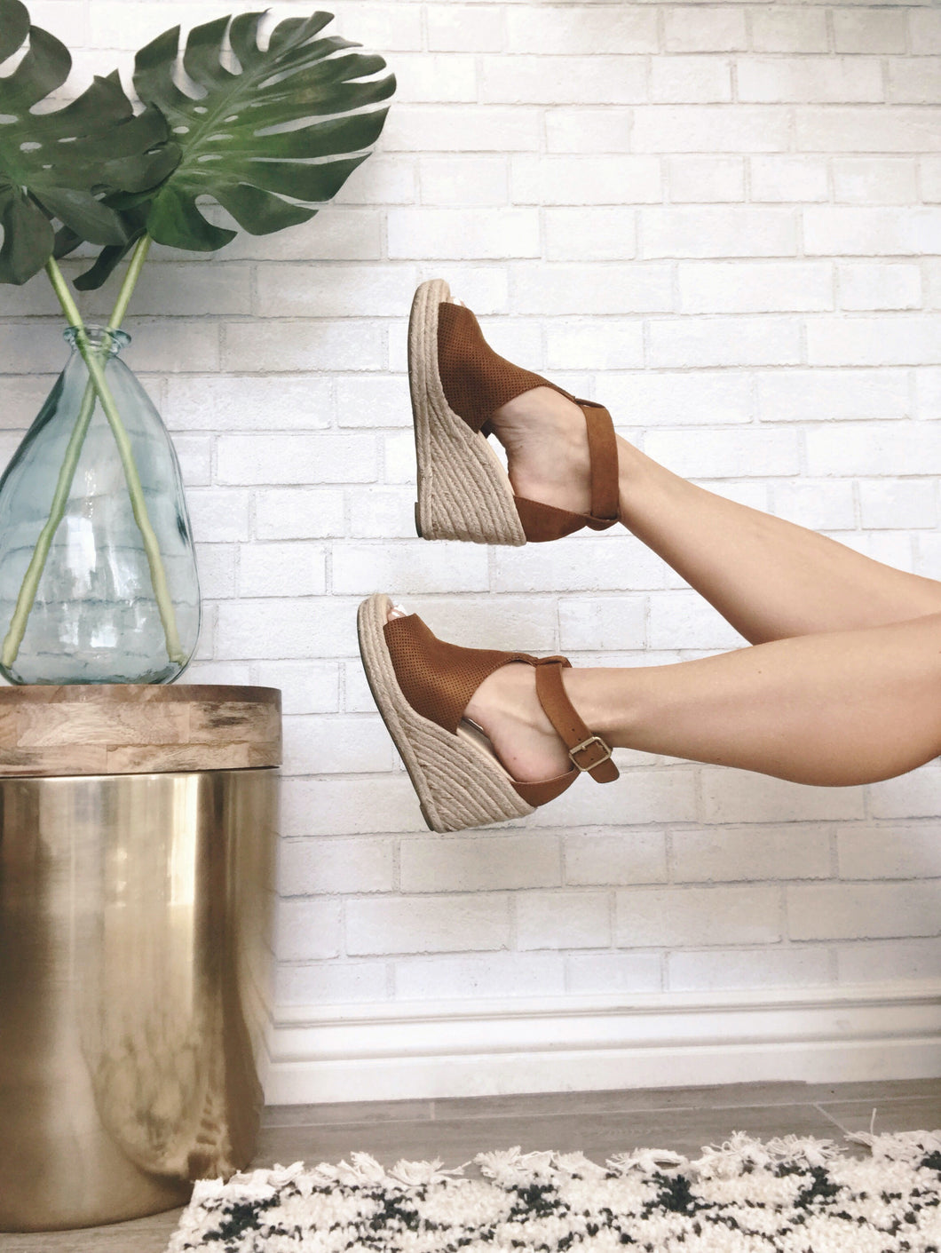 Tan Faux Suede Espadrille Wedges