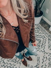Tan Vegan Leather Moto Jacket (size XS)