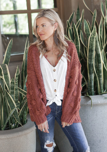 Olivia Pom Sleeve Cardigan (size M, loose fit)