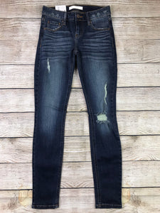 Plus Size Dark Wash Distressed Jeans (size 1XL)