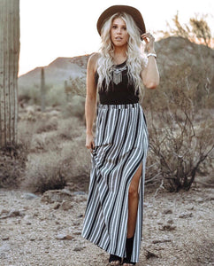 Vertical Stripe Maxi Skirt