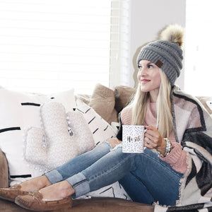 C.C. Beanie with Faux Fur Pom