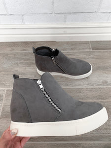 Adele Wedge Sneakers - Grey or Black (size 5.5 - 6.5)