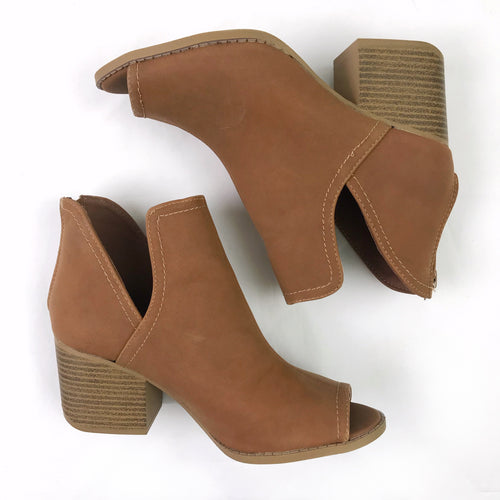Cognac Peep-Toe Booties (size 6, fits like 6.5)