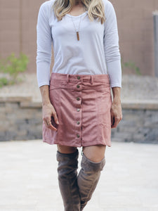 Faux Suede Button-Down Mini Skirt - 2 colors