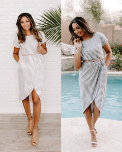 Addison Dress - Ivory or Navy (size L)