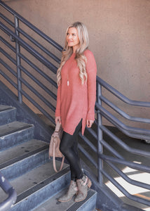 Waffle-Knit Tunic Sweater - 2 colors (size L, XL)