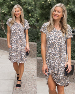 Leopard Dress with Pockets!