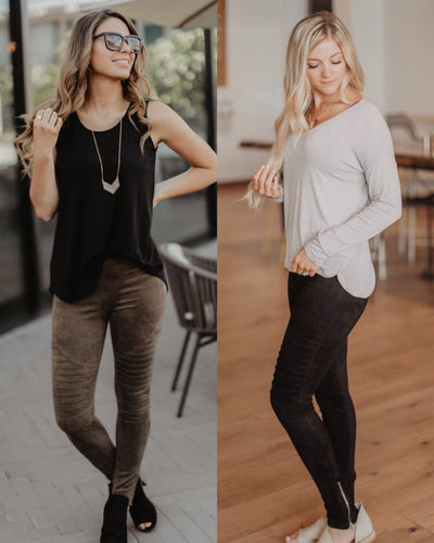 Soft Faux Suede Moto Leggings