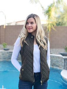 Plus Size Quilted Vest - Olive