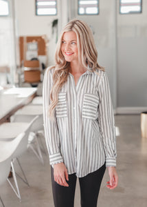 Avery Striped Button-Down Shirt