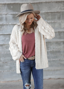 Olivia Pom Sleeve Cardigan - 2 colors