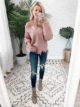 Mauve Distressed Sweater (size L)