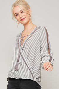 Grey Striped Boho Blouse