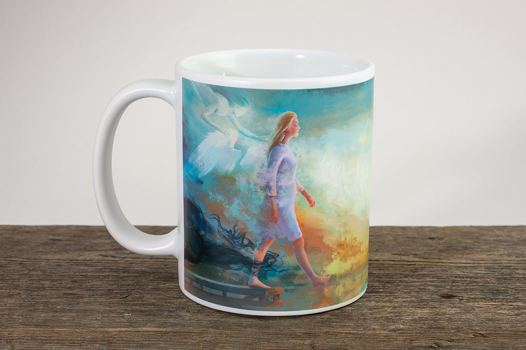 "Christian coffee mug ""The Step of Faith"" 2 Corinthians 5:7"