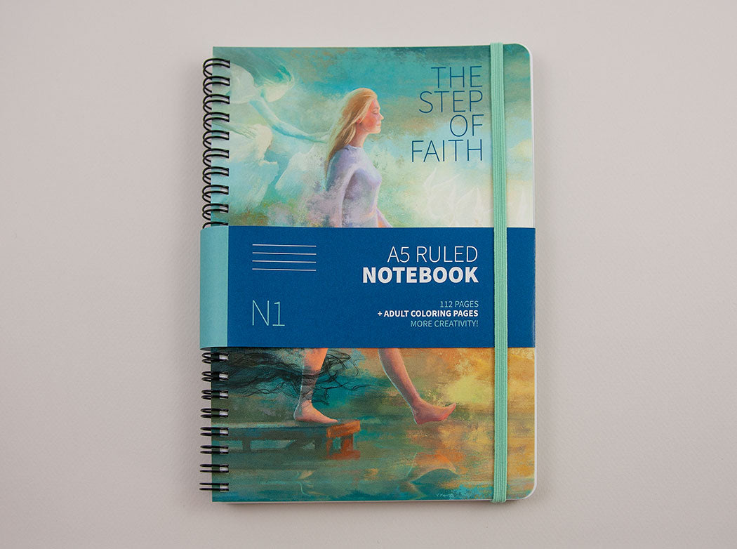 "RULED NOTEBOOK ""The Step of Faith"" A5 size, Wirebound, Journal, Diary, Planner 112 Pages +adult coloring pages"