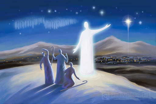 Art print - Angel proclaims the good news, Luke 2:8-14 - Ain Vares Art