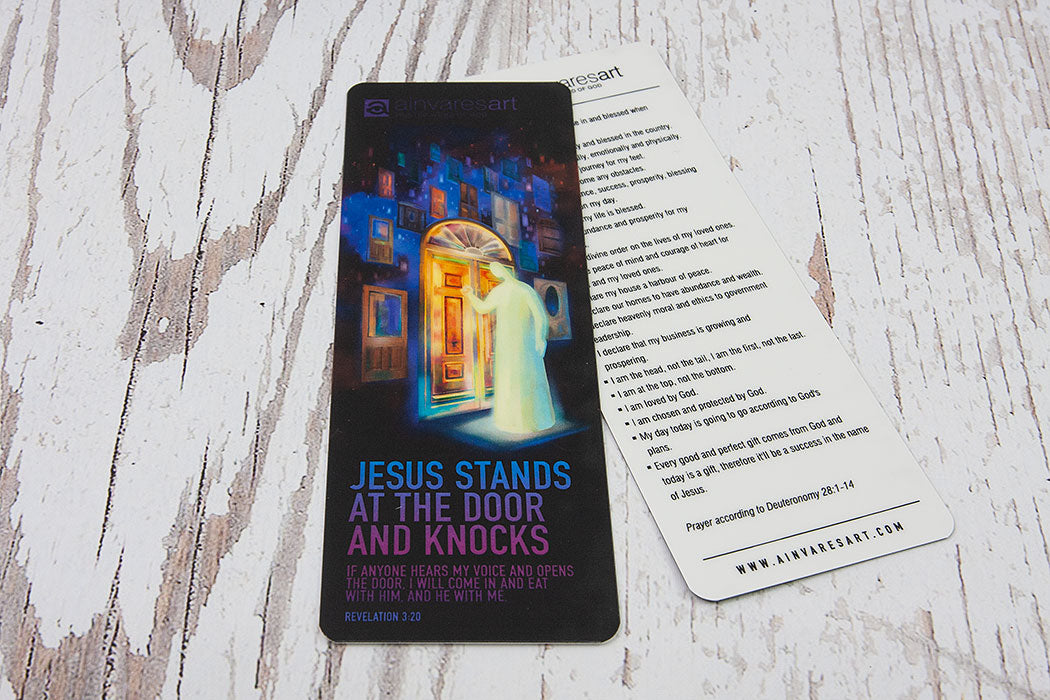 Bookmark - Jesus stands at the door and knocks, Revelation 3:20 - Ain Vares Art
