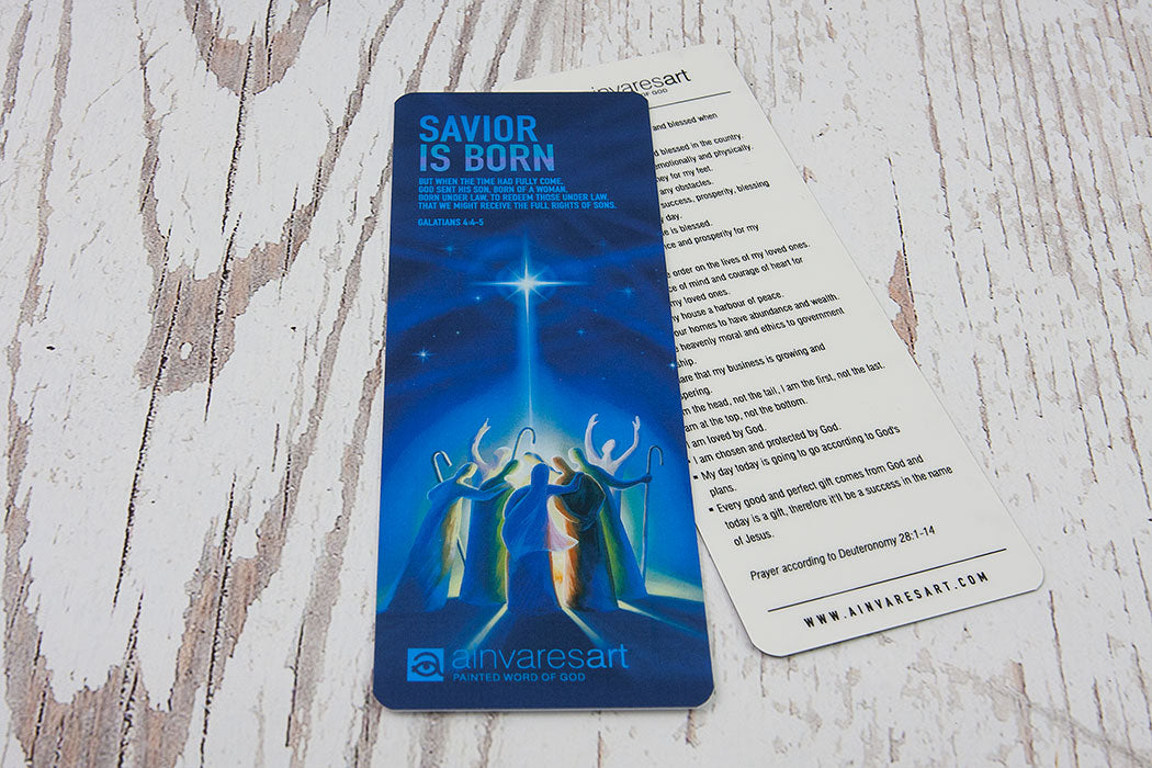 Bookmark - Savior is born, Galatians 4:4-5 - Ain Vares Art