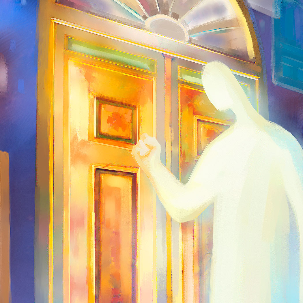 Art print - Jesus stands at the door and knocks, Revelation 3:20 - Ain Vares Art