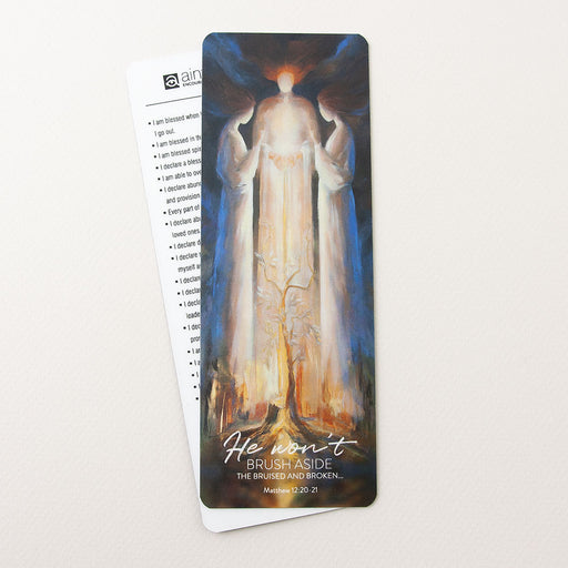 "Bookmark  ""He won't brush aside the bruised and the broken"" Matthew 12:20-21, Isaiah 41:9-10 Ain Vares Art"