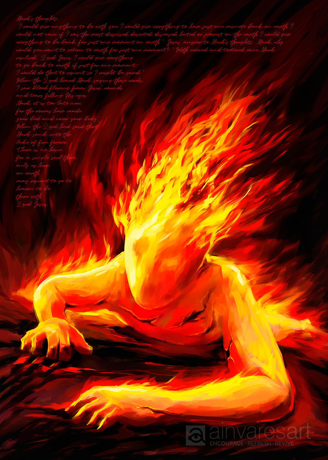 Art print - Mark´s thoughts in Hell, Luke 12:4-5 - Ain Vares Art