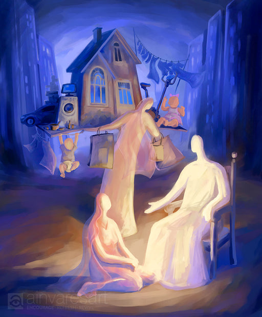 Art print - At the Home of Martha and Mary, Luke 10:38-42 - Ain Vares Art