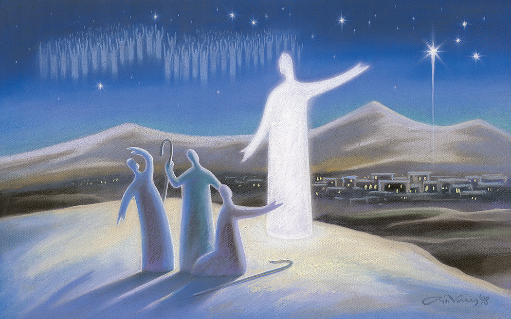 Original painting. Angel proclaims the good news. Luke 2. Ain Vares Art