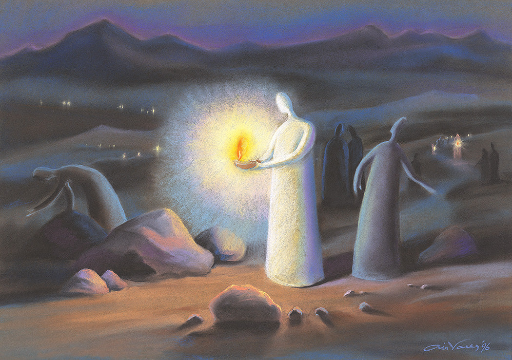 Original painting Your word is a lamp to my feet. Psalm 119:105. Ain-Vares-Art