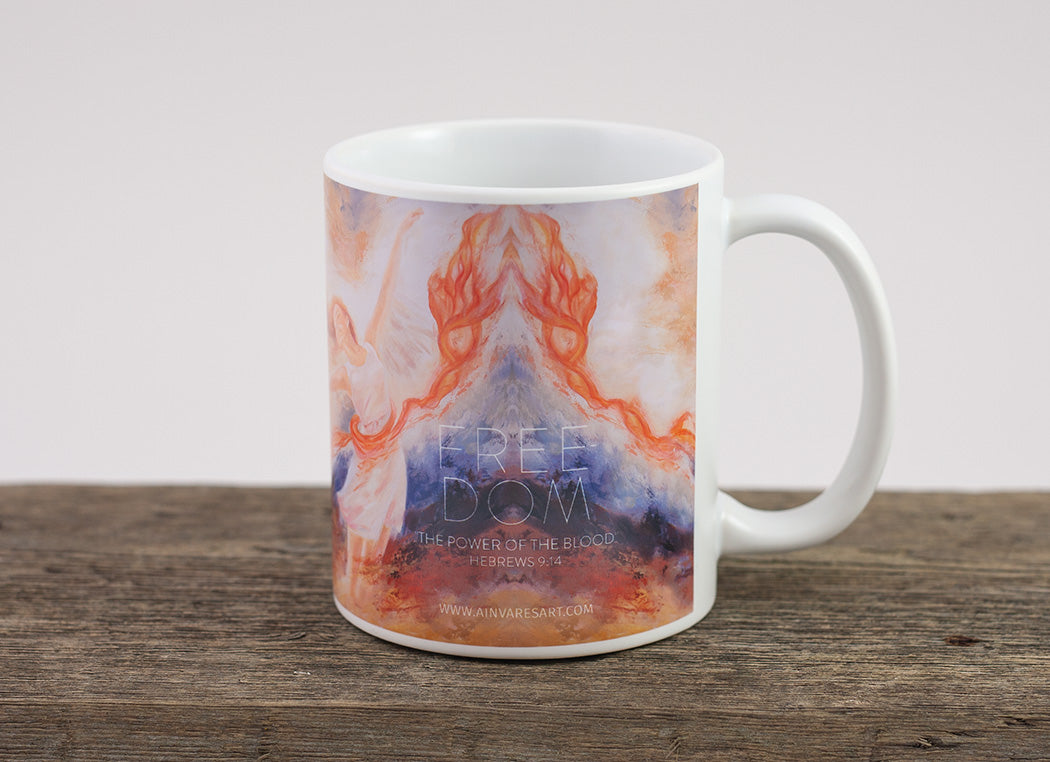 "Christian coffee mug ""The Power of the Blood, Hebrews 9:14"""