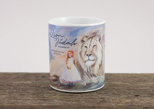 "Christian coffee mug ""The Mighty Lion of Judah's Tribe"" Revelation 5:5"