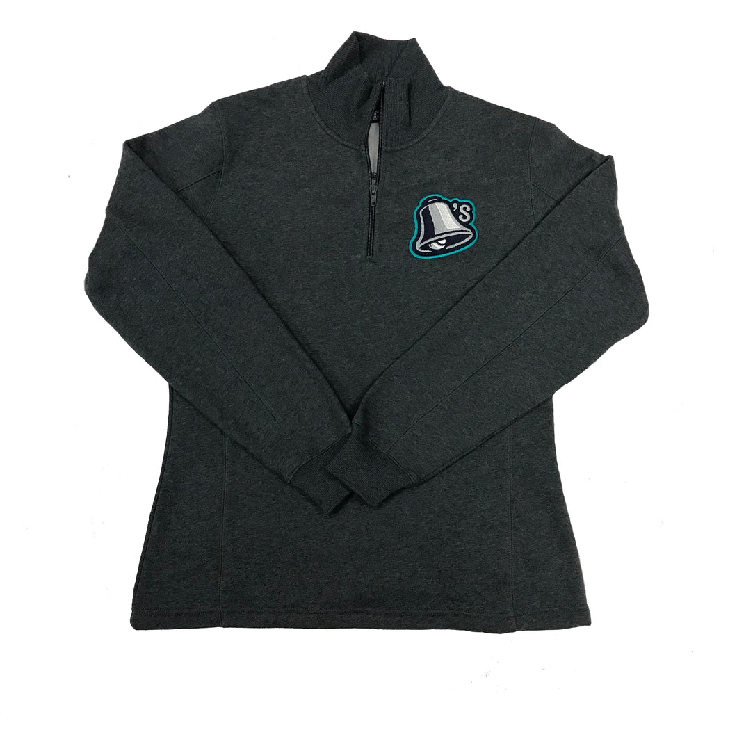 Women's Grey 1/4 Zip with Bell Logo on Chest