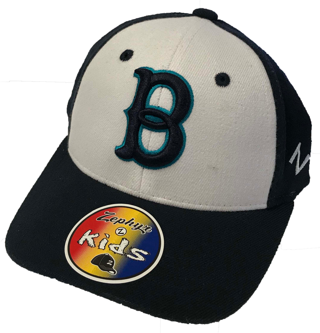 Youth White Panel and Teal Fitted Hat