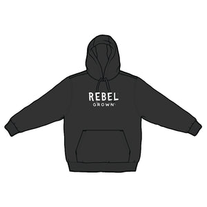 Black With White Rebel Grown Text Pull Over Hoodie