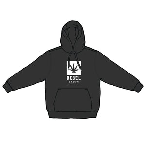 Black With White Rebel Grown Logo Pull Over Hoodie