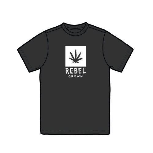 Black With White Rebel Grown Logo Men's T