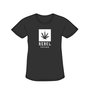 Black With White Rebel Grown Logo Women's T