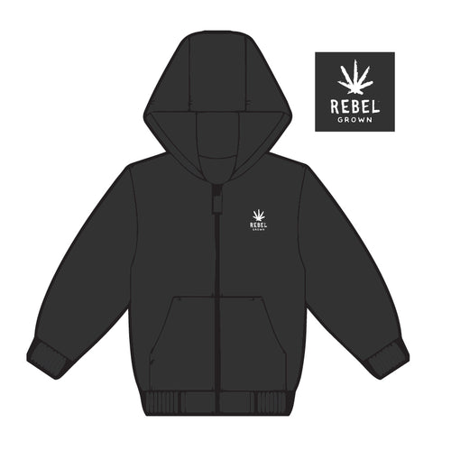 Black With White Embroidered Rebel Grown Logo Zip Up Hoodie