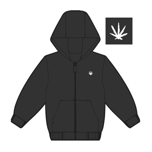 Black With White Embroidered Leaf Zip Up Hoodie