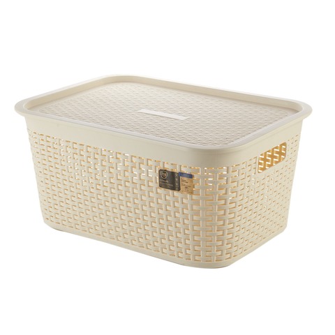 Rattan Laundry Basket with Lid (Wide)