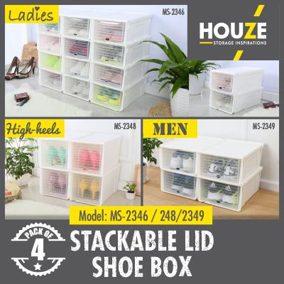 Sliding Lid 'Mens' Shoe Box (Pack of 4pcs)