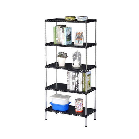 5 Tier Multi Utility Shelf - Black Plastic(60Lx35Wx180H)