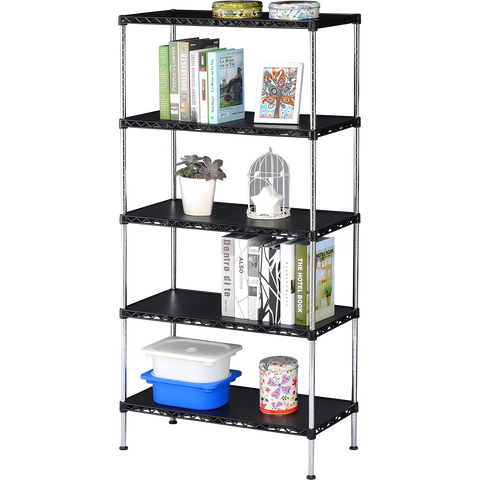 5 Tier Multi Utility Shelf - Black Plastic(75Lx35Wx180H)