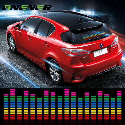 Onever Automotive Car Interior Sticker Music Rhythm LED Light Lamp Sound  Activated Equalizer Rear Window Warning