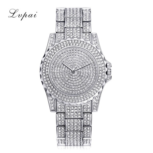 Lvpai Top Brand Silver Luxury Women Dress Watch Rhinestone Ceramic Crystal