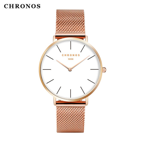 CHRONOS 1898 Luxury Watch Men Women Rose Gold Silver Casual Quartz-Watch