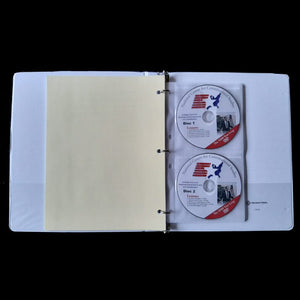 3-ring binder open to show DVD's