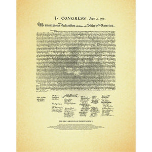 The Declaration of Independence, unframed document